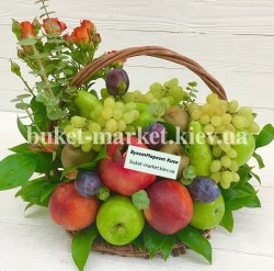 Корзина с фруктами и цветами №376
