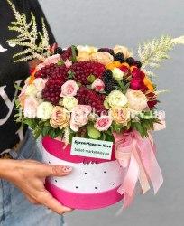 Коробка с ягодами и цветами, Ø20-27 см., №392