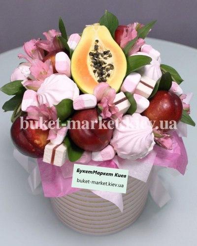 Букет с фруктами и зефиром, Ø20-25 см., №397
