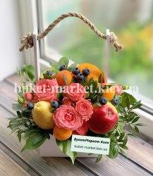 Фруктовый букет с цветами №400