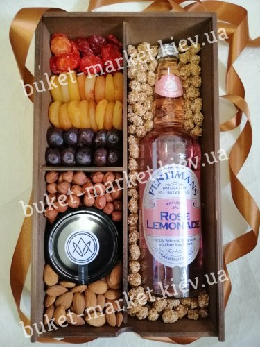 """Подарочный набор с медом и орехами """"Роуз Лимонад"""" (пенал с крышкой) №237/3"""