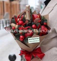 Букет с фруктами и шампанским на Новый год №410