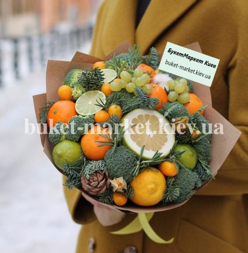 Зимний букет с мандаринами №413