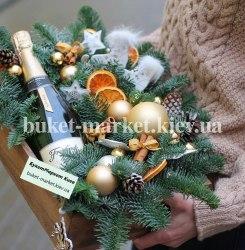 Новогодняя композиция с шампанским №415