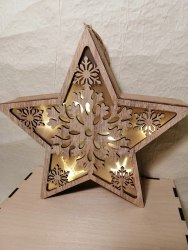 Звезда LED коричневая со снежинкой