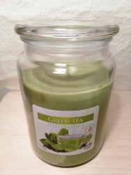 """Большая ароматизированная свеча в стекле """"Зеленый чай"""""""