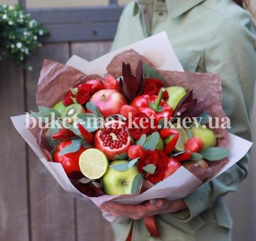 Букет с фруктами и цветами №454