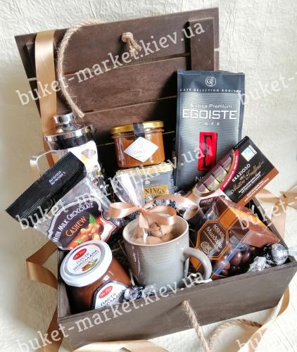Подарочный набор с кофе, чаем и сладостями №505