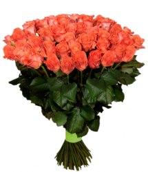 Букет оранжевых роз Вау (25 шт./60 см)