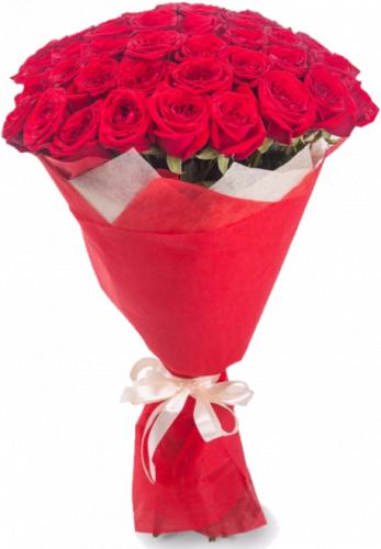 Букет красных роз 45 шт, 70 см