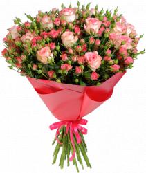 Букет розовых роз (35 шт./70 см.)