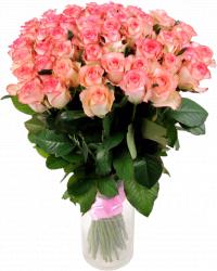 Букет из розовых роз (51 шт./70см.)
