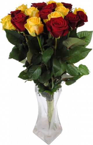 Букет из желтых и красных роз (21 шт./70 см.)