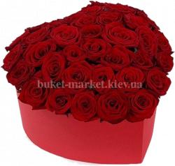 Сердце из красных роз (43 шт./ Ø30 см.)