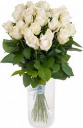 Букет из белых роз Аваланч (25 шт./70 см)