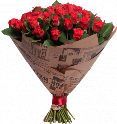 Букет из красных роз Эль Торо - 59 шт, 70 см
