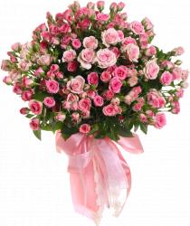 Букет роз спрей розовых Грация 60 см – 19 шт