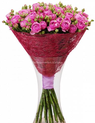 Букет из пионовидных роз 50 см - 25 шт