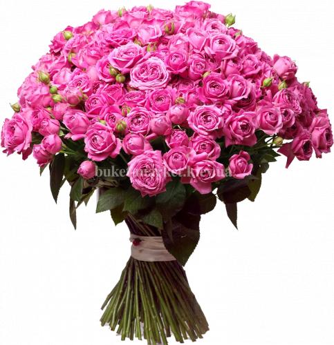 Букет пионовидных роз Мисти баблз 50 см - 101 шт