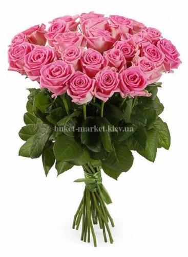 Букет розовых роз Аква 25 шт, 70 см