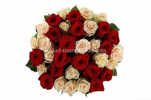 Букет из красных и кремовых роз 50 см, 35 шт