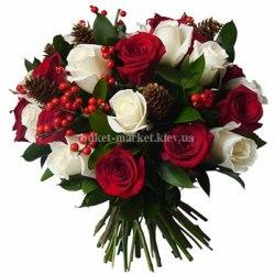 """Новогодний букет """"Розы в лесу"""""""