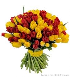 Букет из 101 красного и желтого тюльпанов