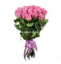 Букет из розовых роз Аква 25 шт, 60 см