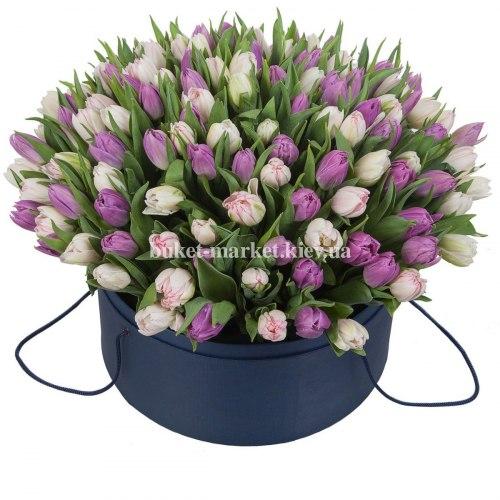 Тюльпаны пионовидные в коробке 101 шт