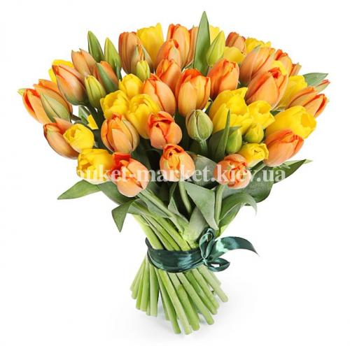 101 оранжевый и желтый тюльпан