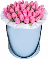 51 розовый тюльпан в коробке