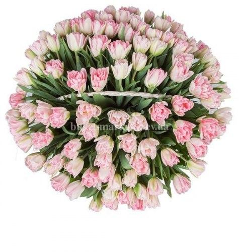 Корзина из 101 розового тюльпана (пионовидного)