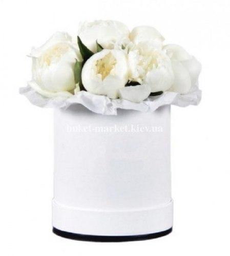 Белые пионы в шляпной коробке 15 шт