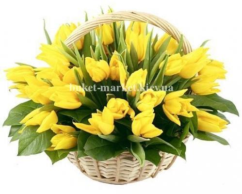 Корзина из 45 желтых тюльпанов