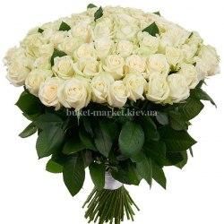 Букет 101 белая роза - 70 см