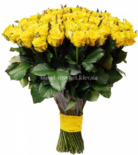 101 желтая роза - 50 см