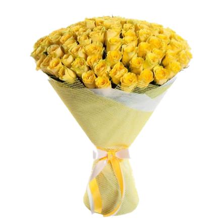 Букет из желтых роз 101 шт - 60 см