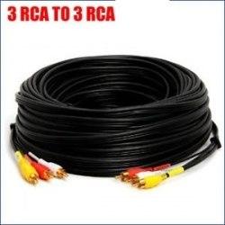 Кабель 3х3 RCA AV Тюльпаны 10 метров (колокольчики, желтый, красный, белый) 10 метра