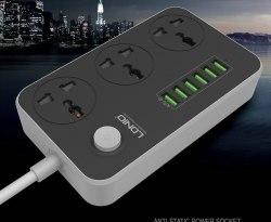 Сетевое зарядное устройство-удлинитель LDNIO SC3604 Power Socket 3 розетки 6 USB