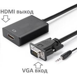 Конвертер из VGA в HDMI в виде кабеля АКТИВНЫЙ со звуком