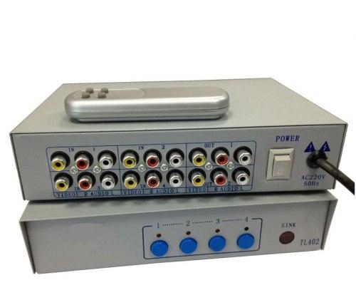 Переключатель Тюльпанов AV RCA 4x2 Коммутатор свич Активный + пульт ду