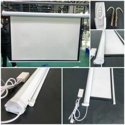 """Моторизированный экран для проектора с электроприводом 100"""" дюймов 221*125 см с пультом ДУ"""