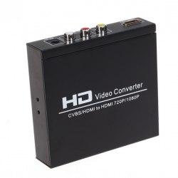Конвертер сигнала HDMI и AV (3rca) в сигнал HDMI с отводом звука (SPDIF и 3.5st) CVBS + HDMI в HDMI (Upscaler 1080p
