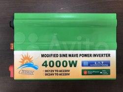 Инвертор 12-220V 4000W 12 на 220вольт 4000 Ват преобразователь напряжения Солнце