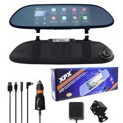 Автомобильный видеорегистратор XPX ZX858 Зеркало встроенный дисплей 7 дюймов, Wi-Fi, GPS высокое разрешение
