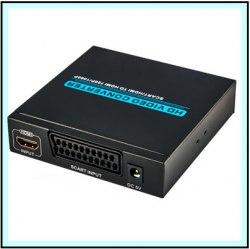Конвертер SCART to HDMI преобразователь, переходник металл