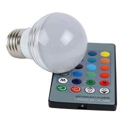 Лампочка светодиодная с пультом управления, меняющая цвет (16 цветов, 4 режима) RGB Матовая