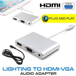 Адаптер Lightning - HDMI + VGA white Адаптер