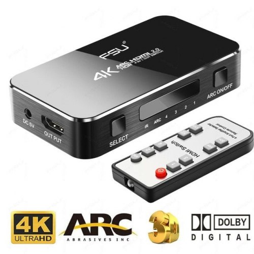 HDMI Switch ARC HDR 4x1 4k*2k (из 4-x HDMI в 1 HDMI) с выводом звука SPDIF и 3.5st + пульт