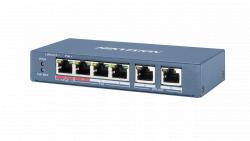Коммутатор Ethernet с PoE настольный Hikvision DS-3E0106HP-E